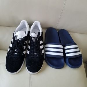 Adidas sneakers and slides size 8